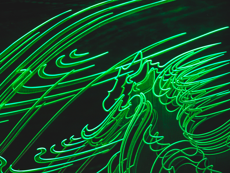 neon lights background sign green glow abstract glowing design futuristic effect city bright signage