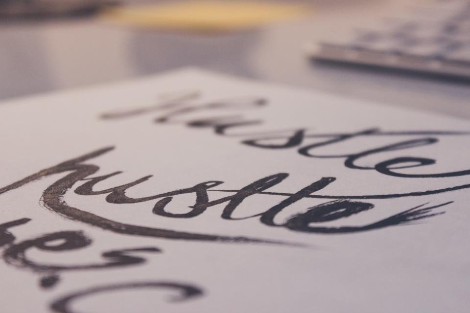 hustle lettering letters words design creative paper writing