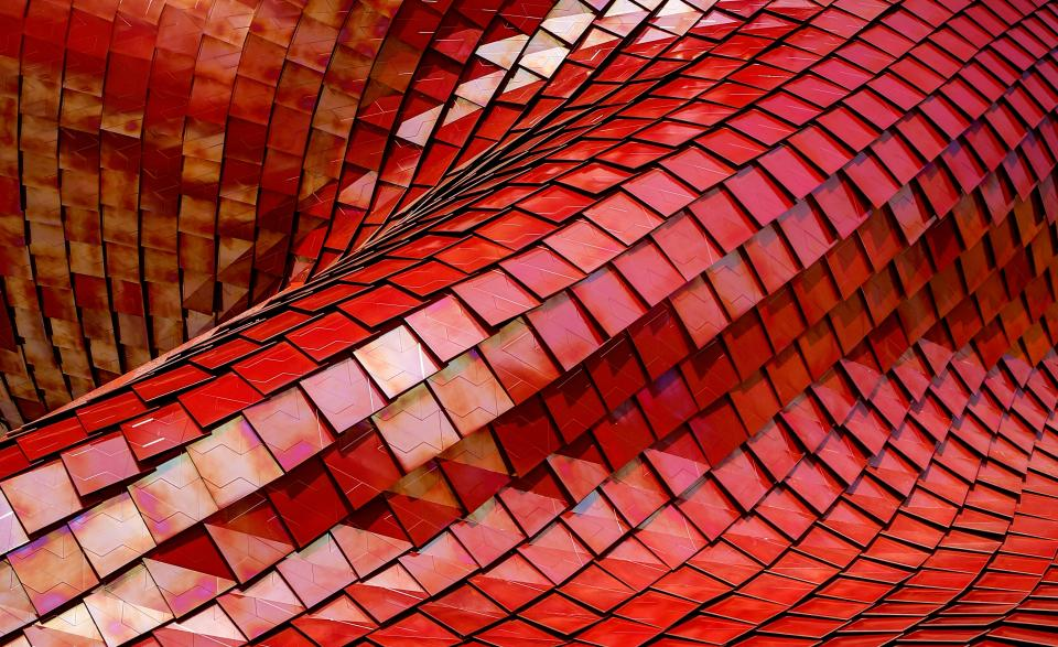 red steel rooftop architecture infrastructure design