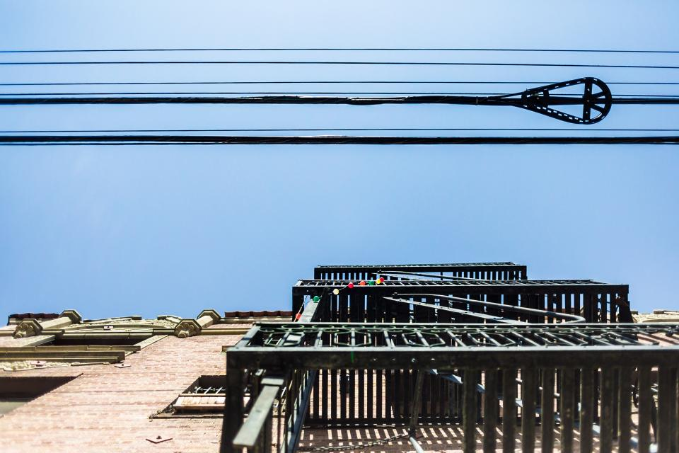 architecture building infrastructure blue sky facade transmission line