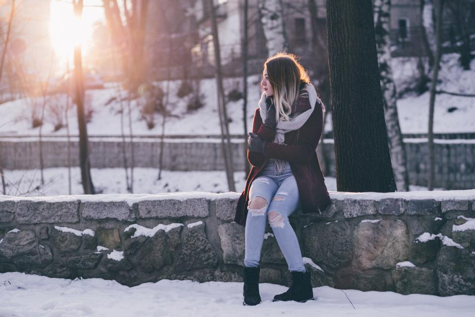 snow winter white cold weather ice trees plants nature people woman alone sun