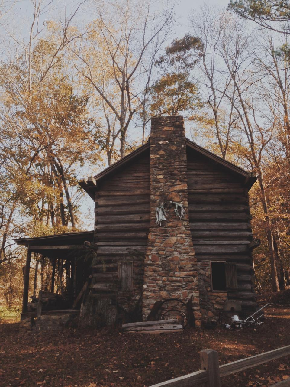 nature trees autumn house home woods stones chimney
