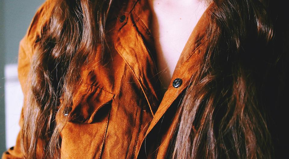 suede shirt fashion clothes long hair brunette girl