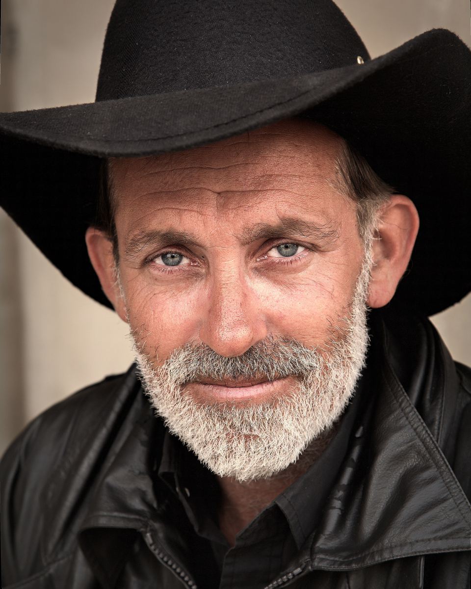cowboy man person hat beard portrait smile