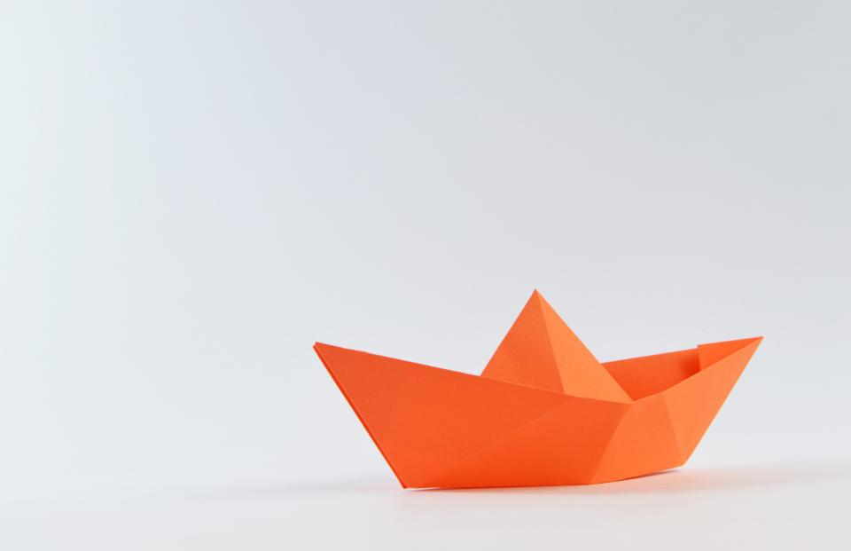 boat paper toy orange white play miniature
