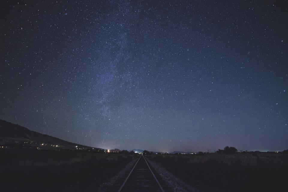 stars sky night space galaxy lights astronomy railroad railway train tracks shadow silhouette