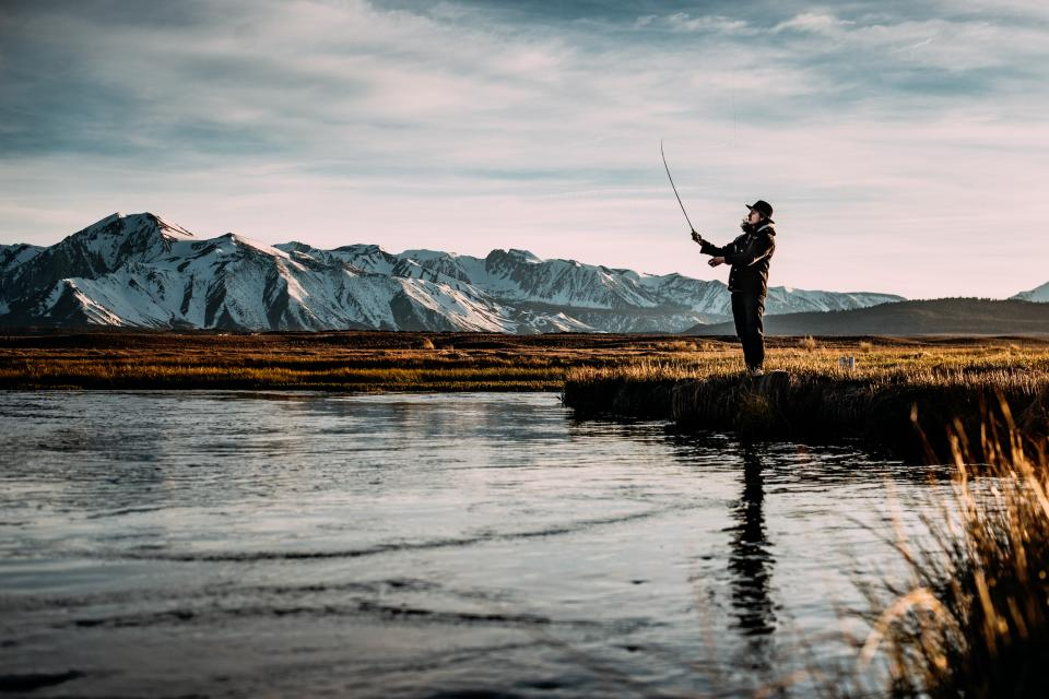 nature water lake mountains snow fishing sky clouds people man guy