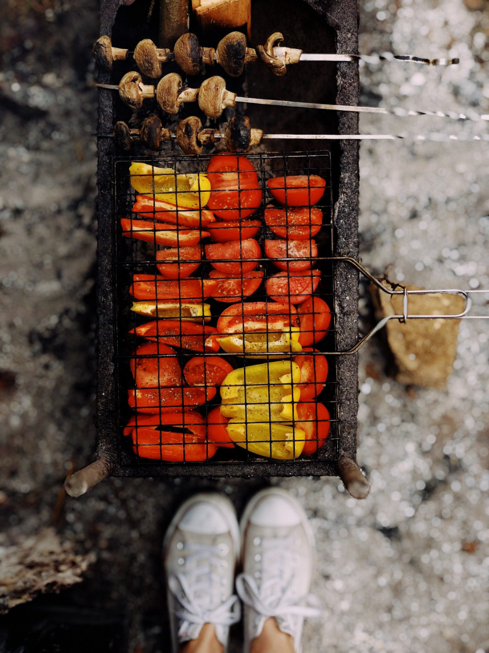 barbecue peppers chicken fire roast bbq cook outdoors grill shoes sneakers pork meat food