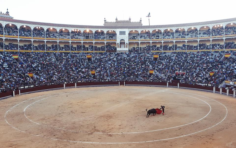matador bullfighter torero red cape ring stadium crowd madrid spain flag circle spectators