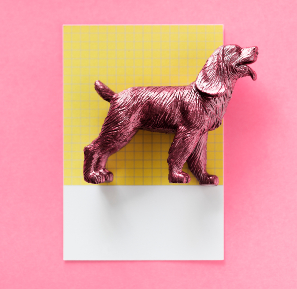 abstract animal background canine card colorful concept creative decoration dog figure fun joy little metallic mini miniature model paper pattern pink play purple shape small spaniel symbol textured tiny toy ye