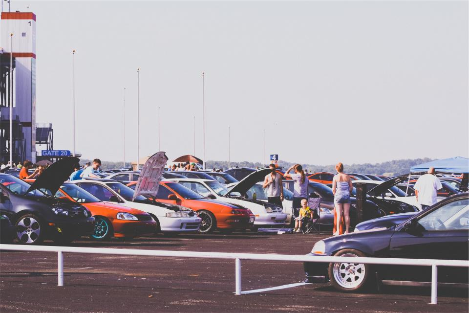 cars car show parking lot hood rims performance racing people summer automotive group