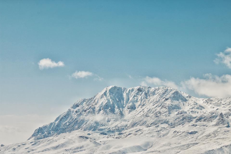 mountain highland cloud sky summit ridge landscape nature valley hill snow winter view travel