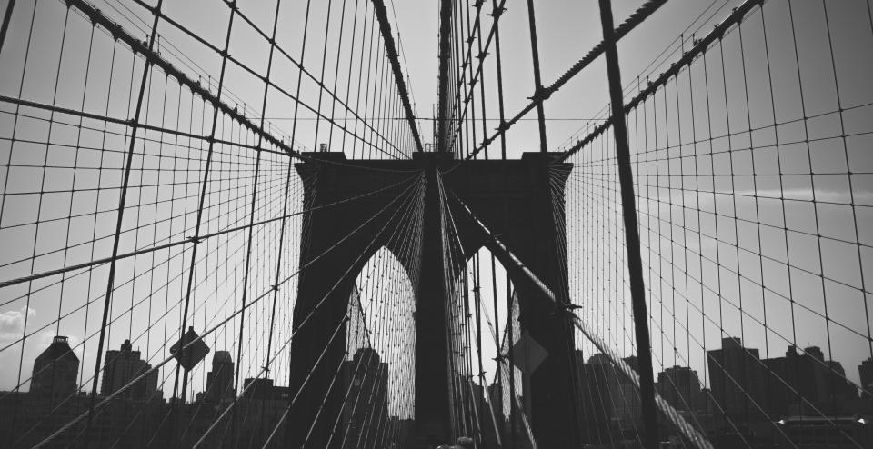 Brooklyn Bridge architecture black and white sky city urban