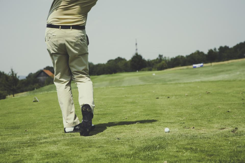 hobbies sports golf guy man male people play pose grass holes ball club trees