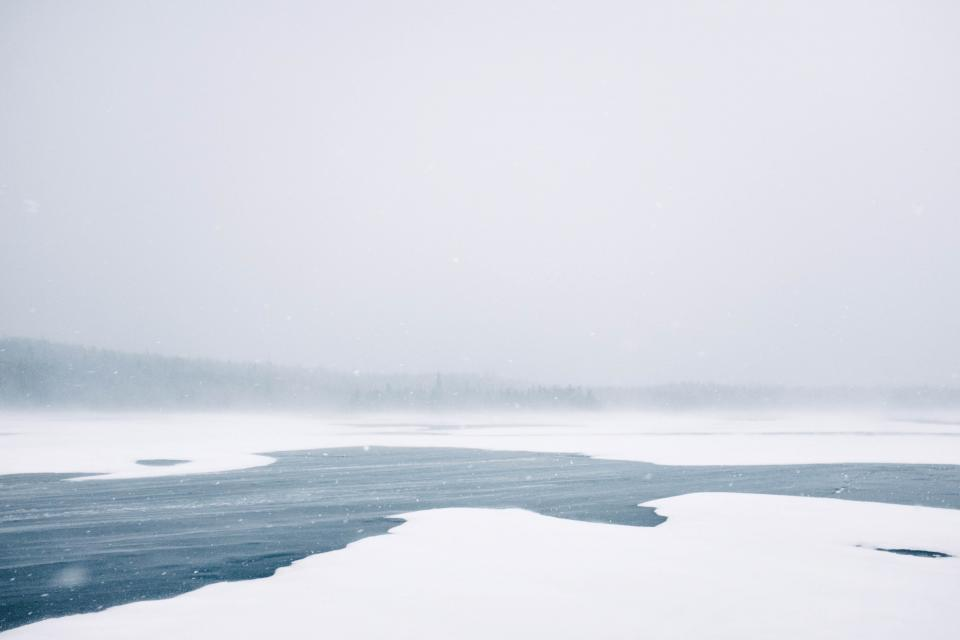 ice snow lake water landscape nature fog sky grey cloudy winter