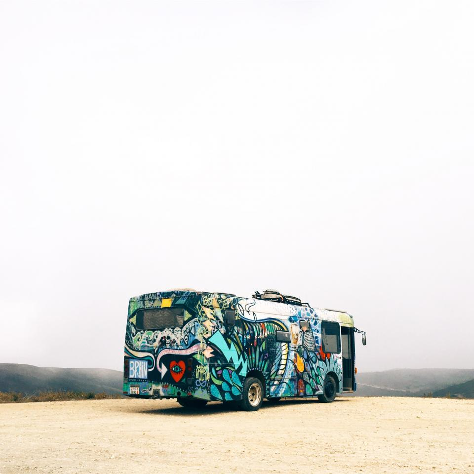bus vehicle tranportation travel adventure art design paint