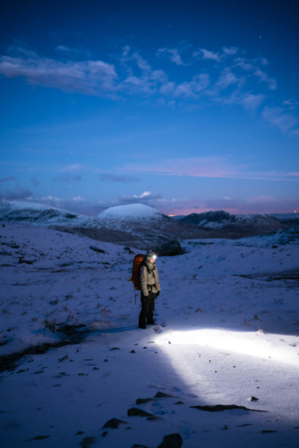 man adventure night light torch backpack travel cold winter climb flashlight hike ice landscape man mountain nature stars