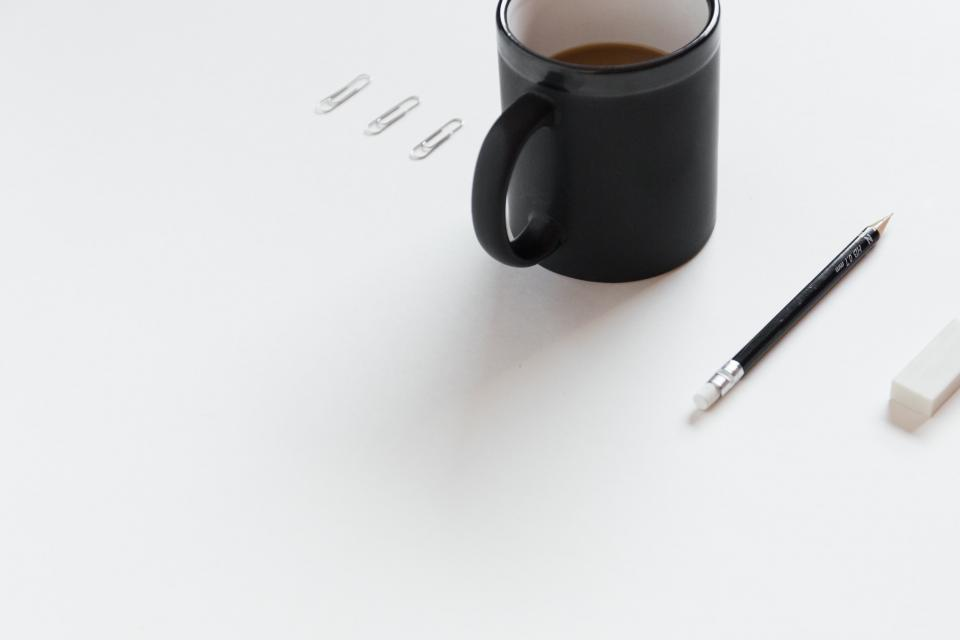 office desk business white work paperclips coffee cup mug pencil eraser creative design objects