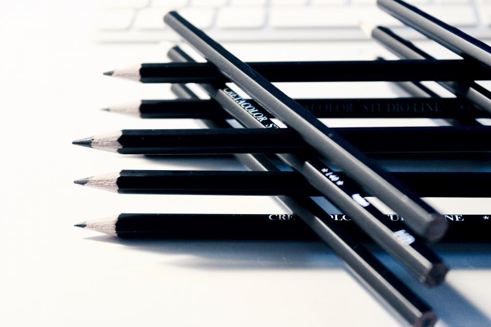 pencils writing drawing creative design business office desk work black and white