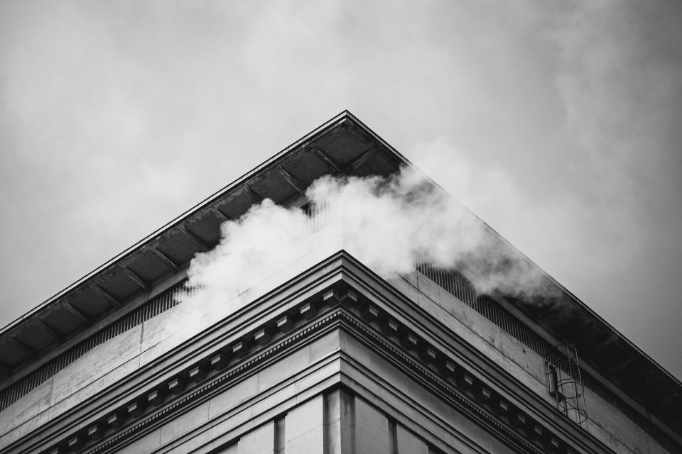 building smoke sky architecture black and white