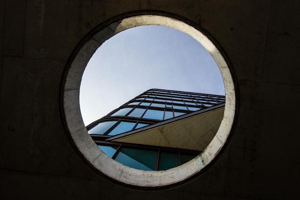 architecture building infrastructure blue sky hole dark
