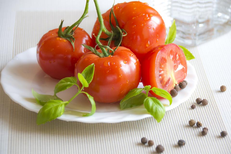 tomato plant crops fruit red plate fresh leaves green table kitchen ingredient food