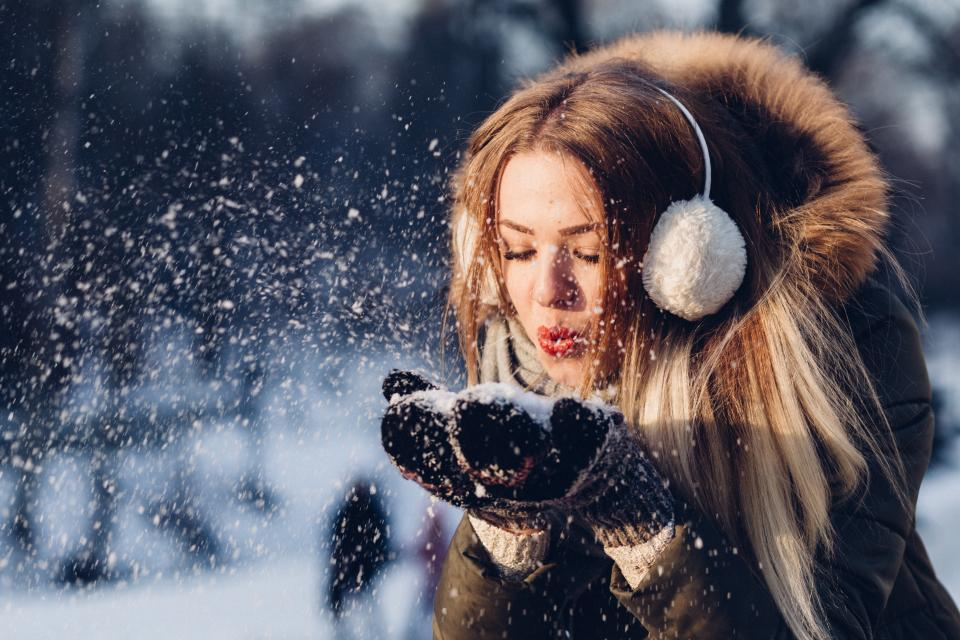 people woman cold weather snow fur jacket fashion beauty winter