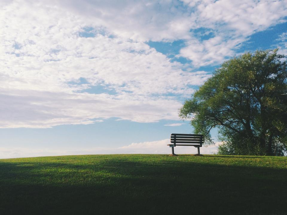 nature landscape mountain hill trees grass green bench peaceful clouds sky