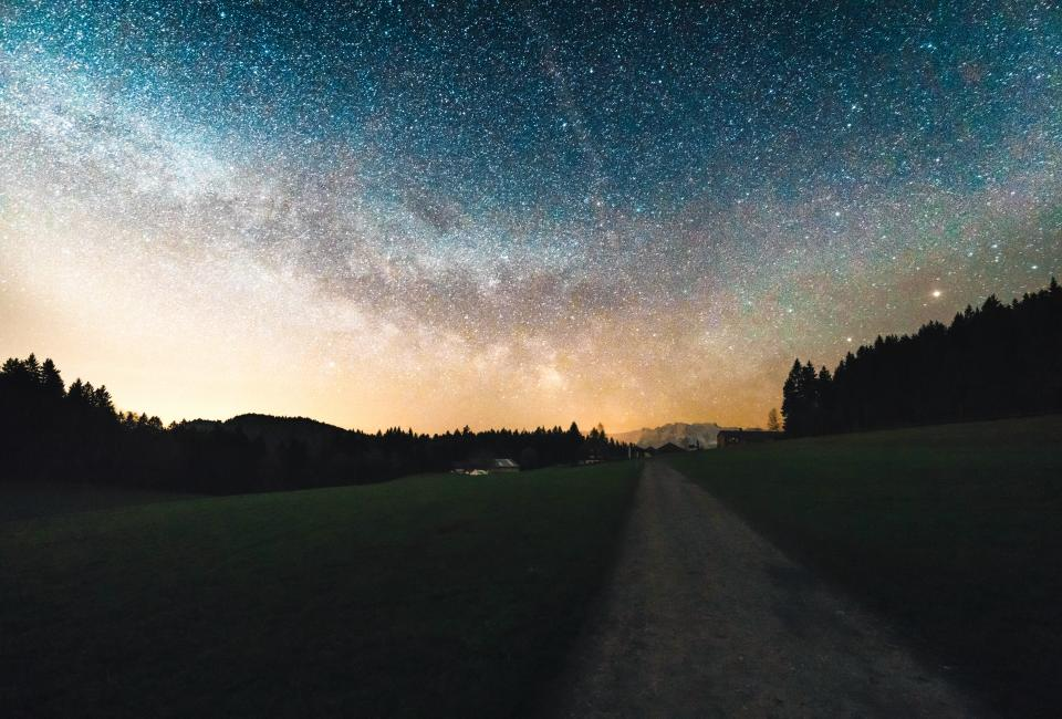 stars galaxy sky night evening dark lights space astronomy silhouette shadows mountains landscape nature trees