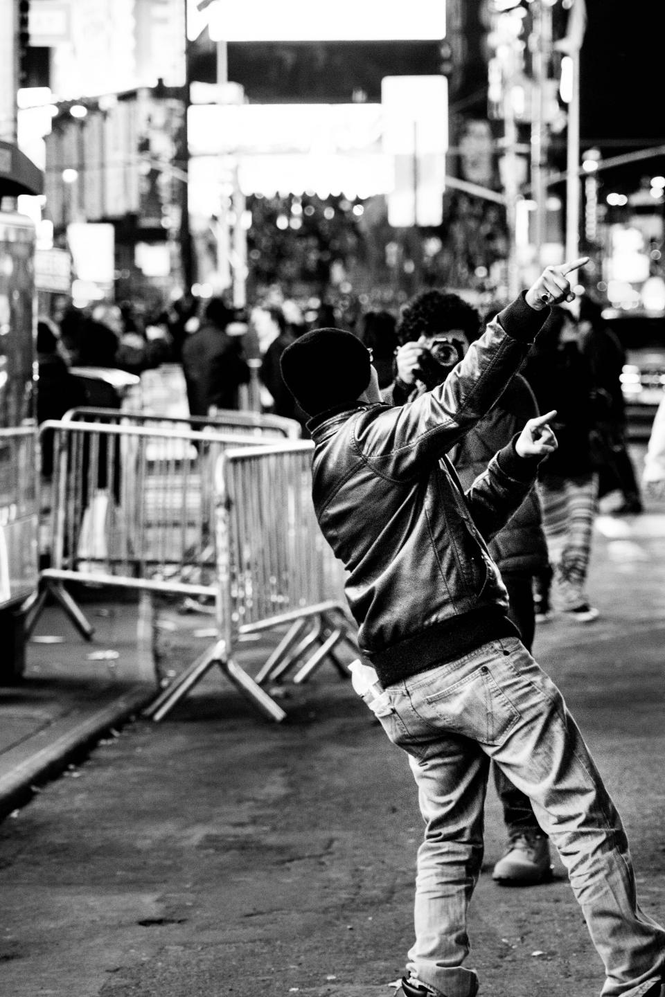 NYC New York City streets people crowd busy photographer photography black and white
