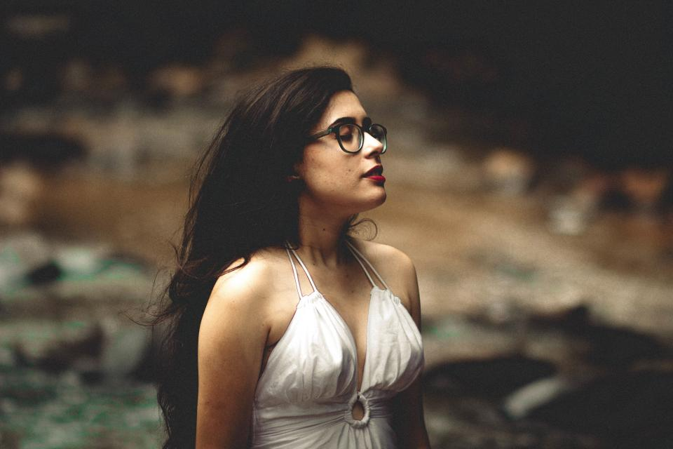 people woman girl eyeglasses blur nature outdoor