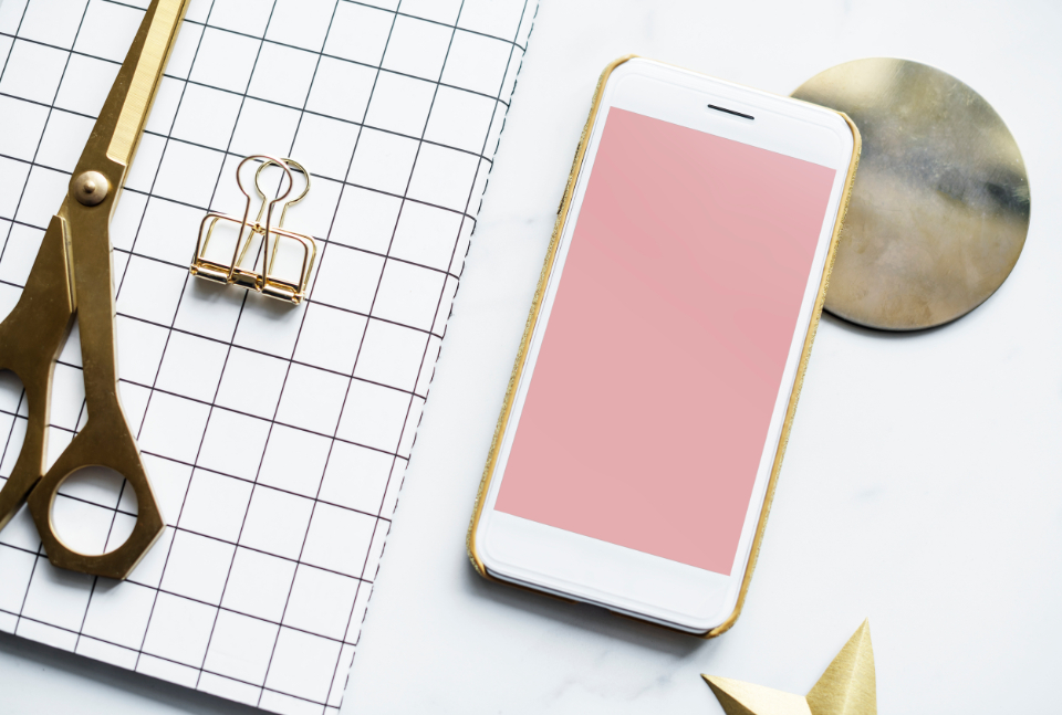 cellphone creative decoration editorial feminine flat lay flatlay girly gold journal marble modern notebook notepad phone scissors screen smartphone table texture tool work work from home workspace