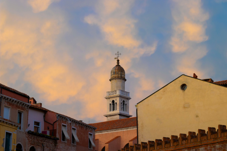 venice church sky clouds travel Italy buildings city architecture rooftops