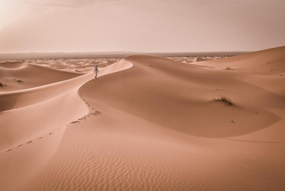 nature landscape desert sand dunes stretch footprints man person walk travel trek traverse expanse patterns brown