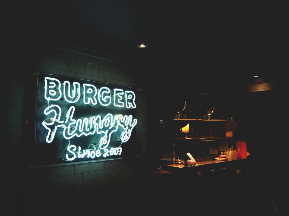 signage restaurant burger store night dark