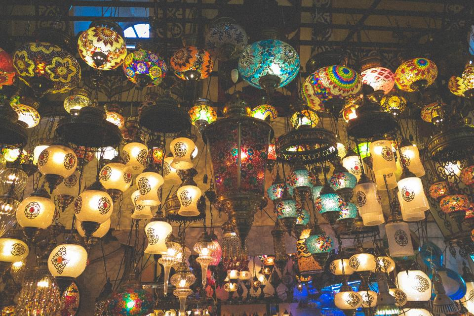 lamps lights Grand Bazaar shop market Istanbul Turkey