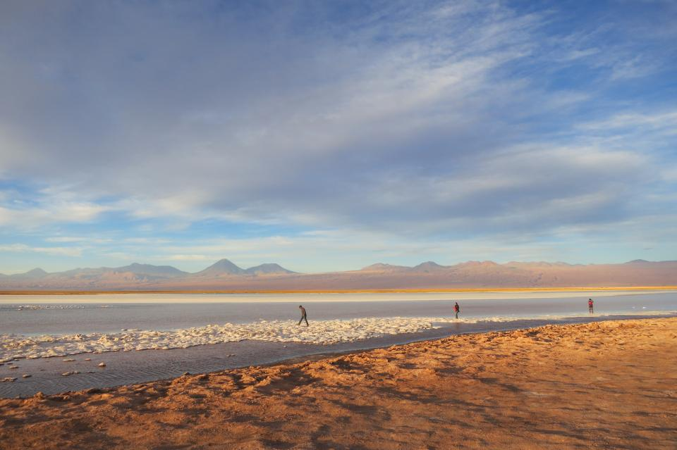 Laguna Cejar Chile water sand landscape people sky clouds mountains hills nature