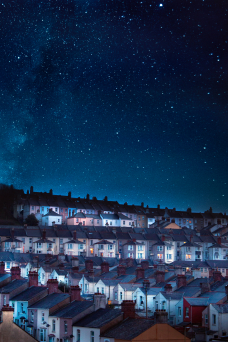 city houses night architecture evening dark dusk landscape night photography night sky sky stars town space