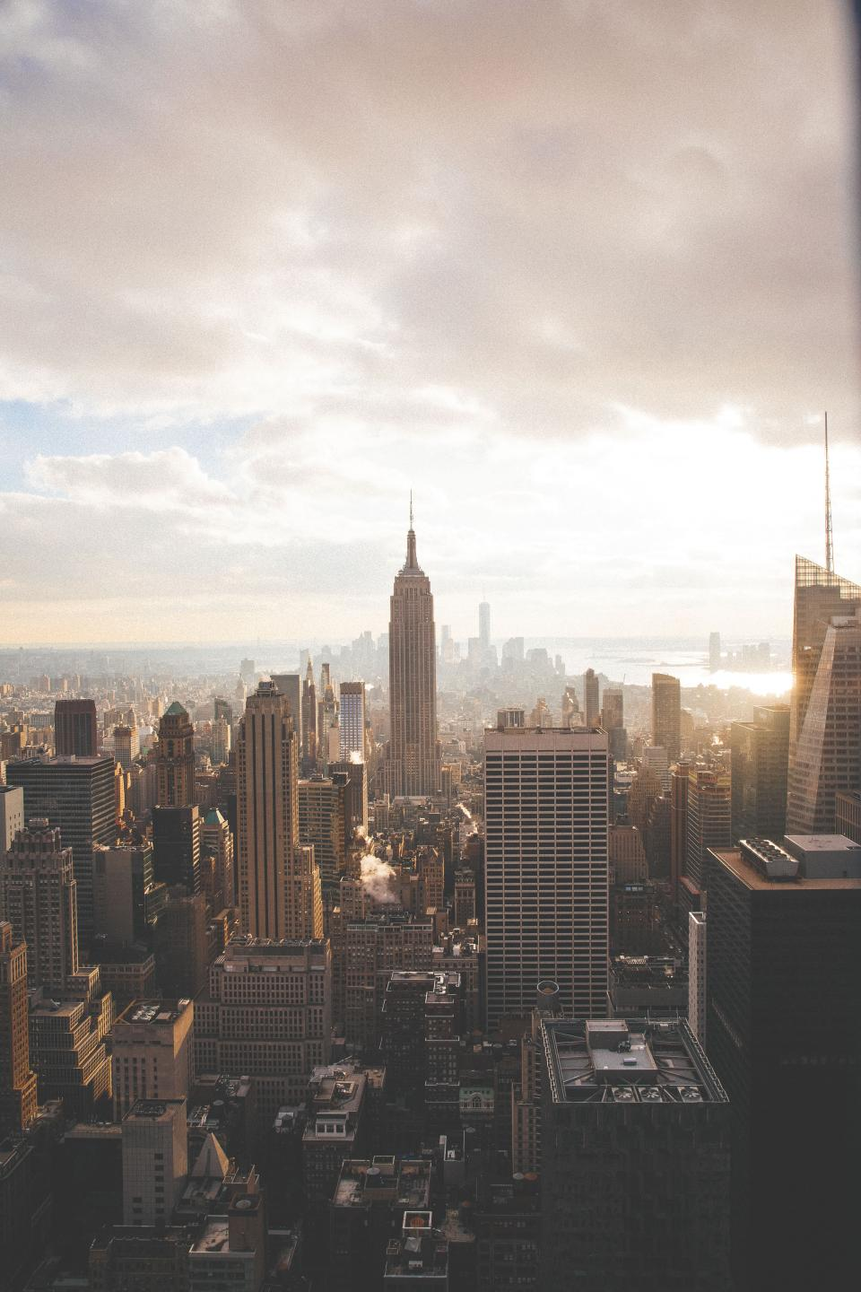 New York city NYC downtown buildings towers high rises architecture aerial view sky clouds