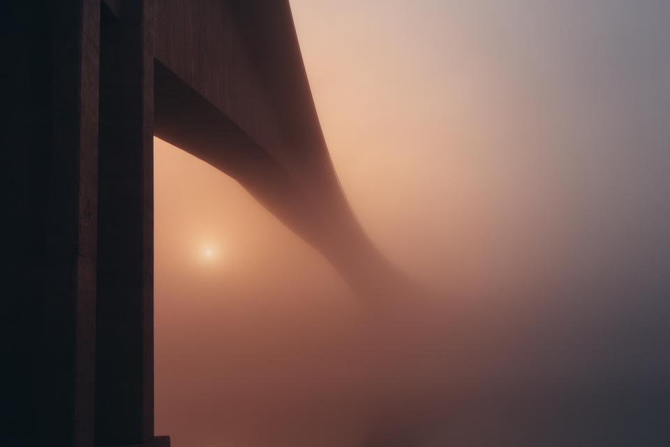 bridge architecture foggy haze hazy sky night dark sunset evening dusk