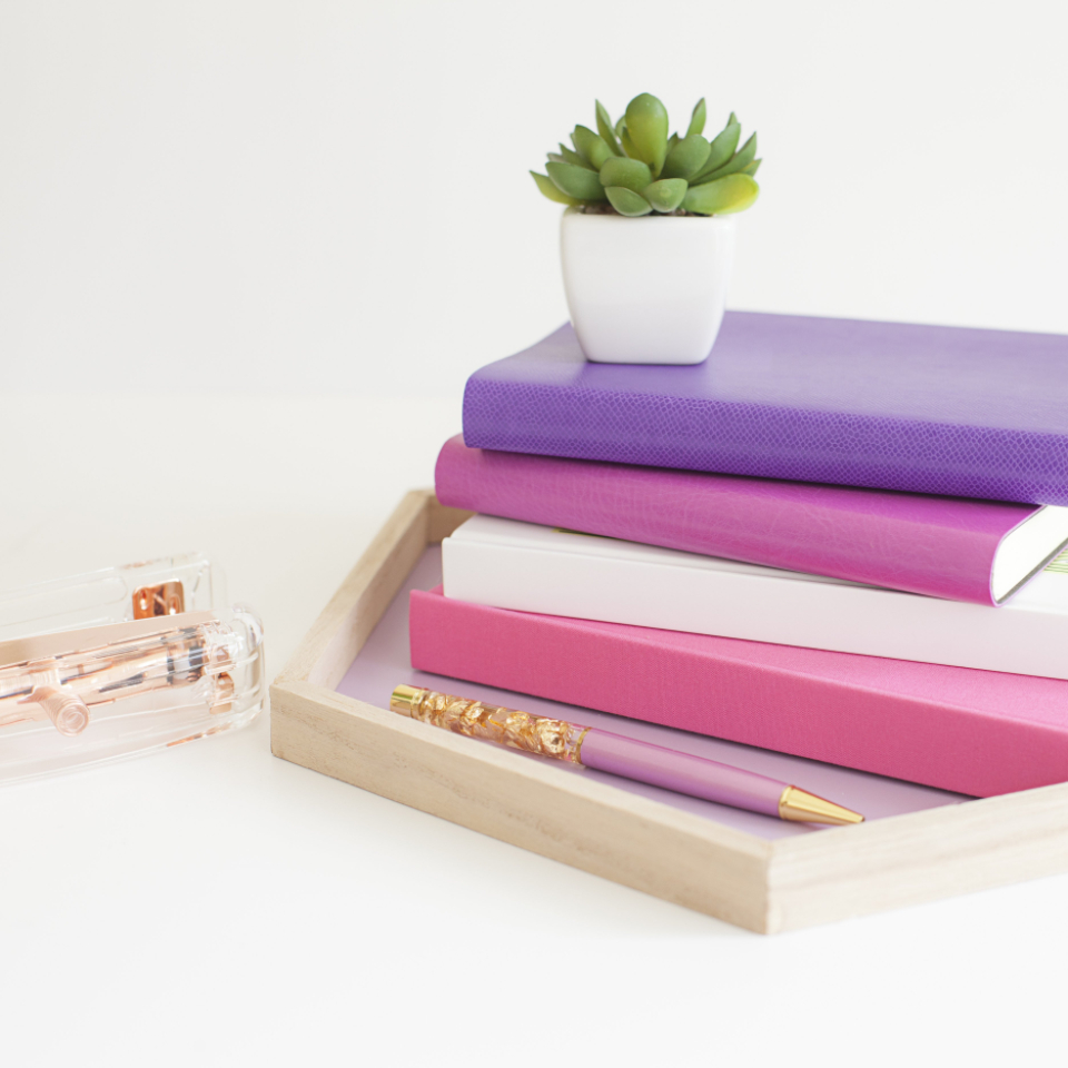 stack books objects stationary diary colorful plant vase pencil decor design minimal copyspace