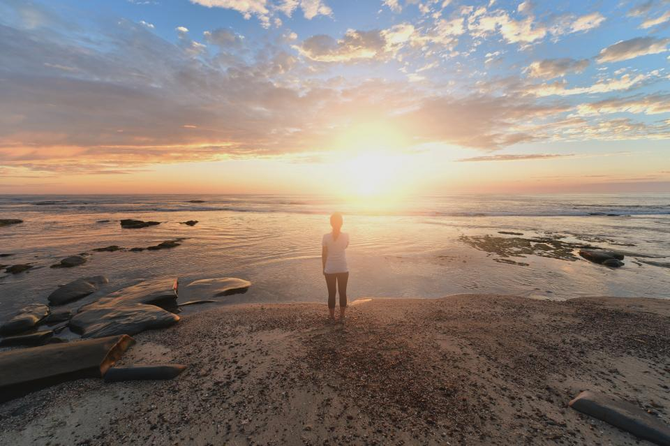 nature water aesthetic girl standing view woman sea ocean clouds sky sunset sunlight