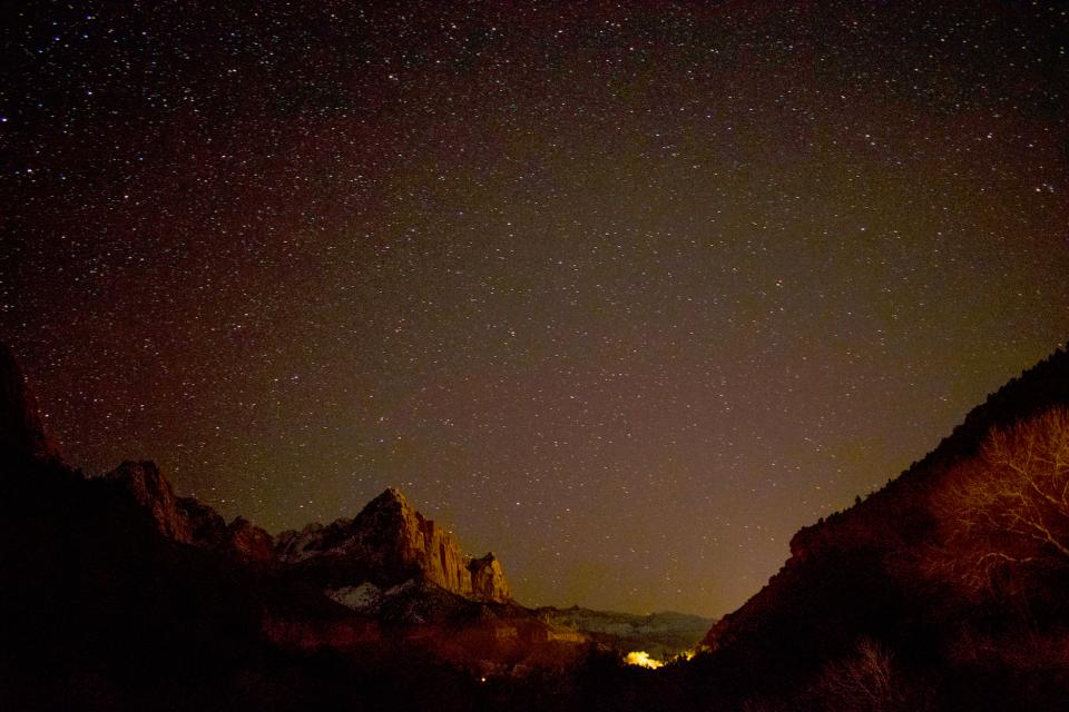 nature mountains cliffs night sky stars