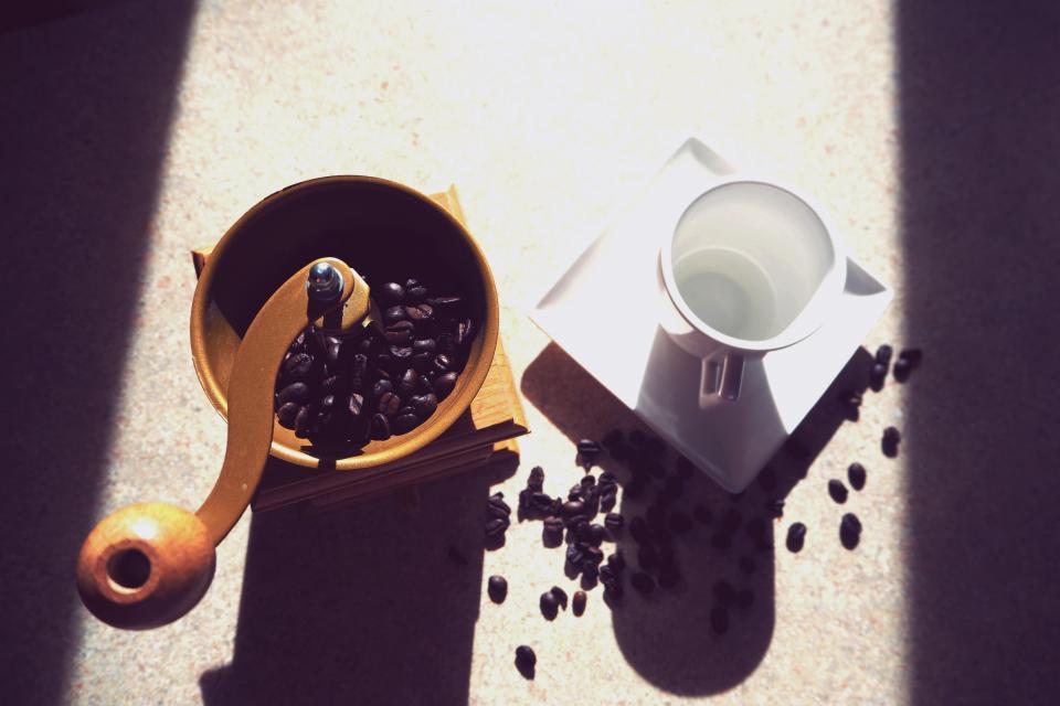 coffee beans seeds cup mug kitchen sunlight shadow