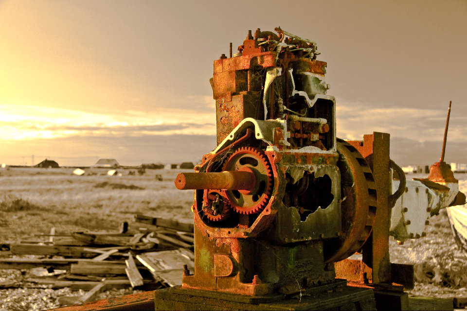 rusty engine motor sunset red Coast Engineering Engines Industrial Industry Sunset
