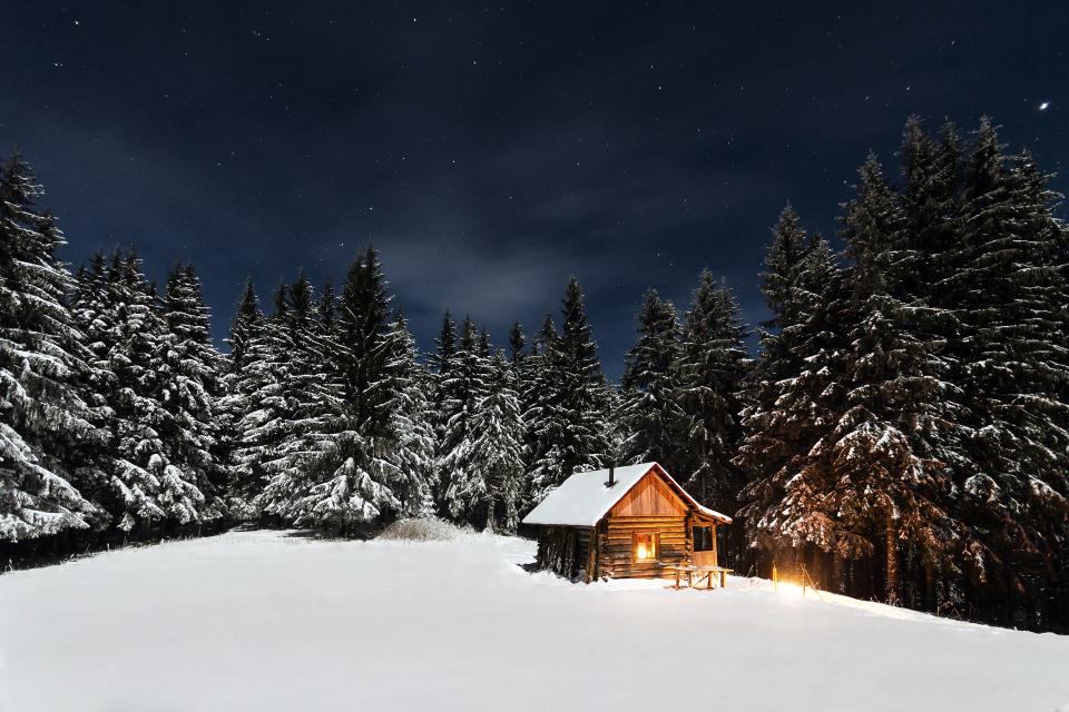 nature landscape snow winter cold weather white woods forest trees travel adventure house home light