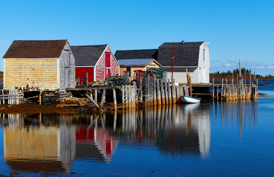 fishing village water cottage ocean sea reflection barn weathered old bay harbor pier coast coastal nature