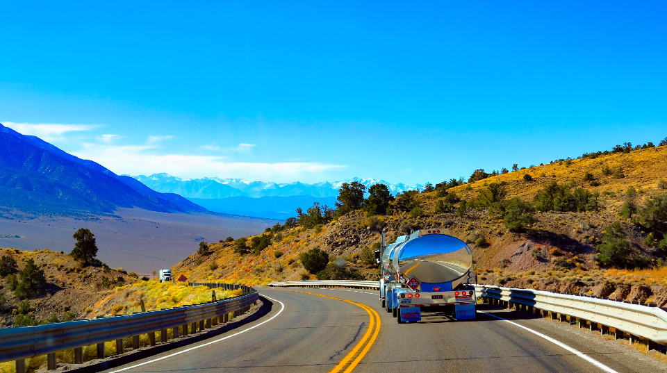 roadtrip usa califronia amazing landscape color truck travel tanker truck road blue sky
