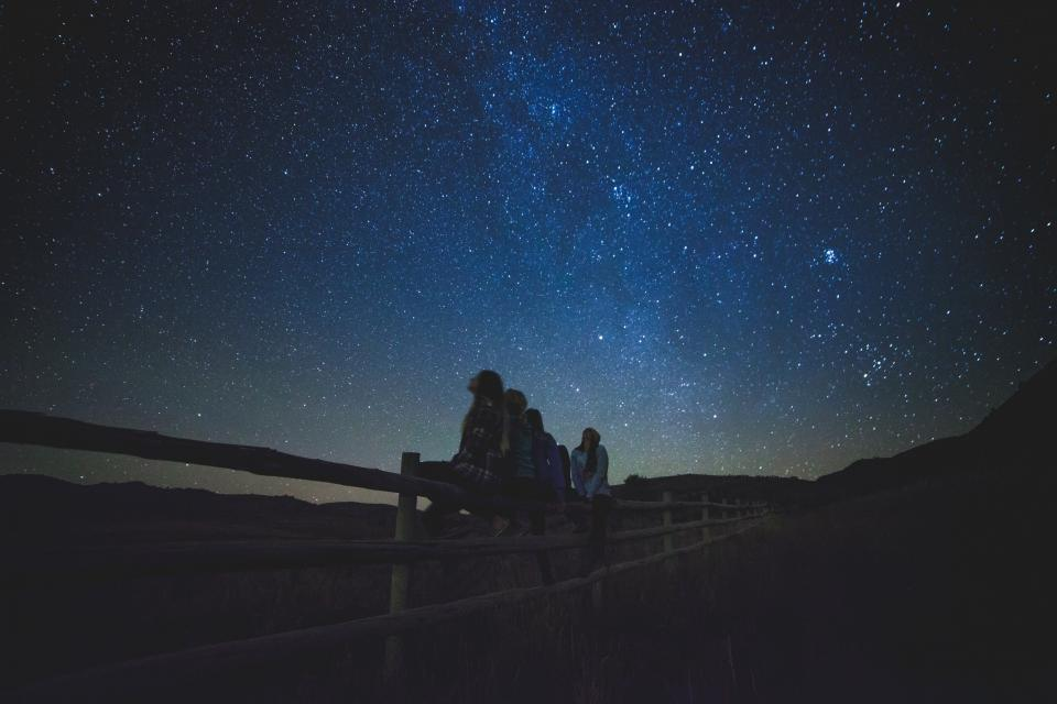 stars galaxy space astronomy night dark evening girls people nature outdoors fence