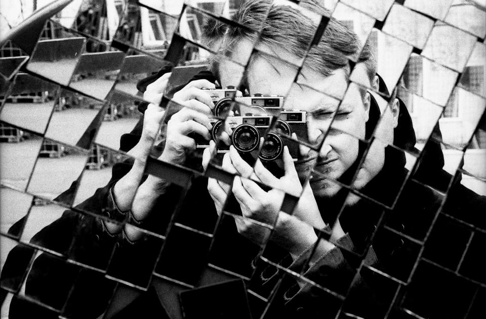 people man photography black and white camera photographer mirror